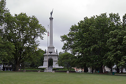 McLean County Illinois monuments and landmarks<br /> <br /> In the north east corner of Miller Park stands the Memorial for the remembrance of valorous deeds by local men who participated in the War of the Rebellion (Civil War).