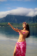 Polynesian Hula Dancer, Kaneohe Bay, Oahu, Hawaii