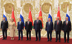 June 19, 2018 - ???, Belarus - June 19, 2018. - Belarus, Minsk. - Russian President Vladimir Putin (4th left), Prime Minister Dmitry Medvedev (3rd left) and President of Belarus Alexander Lukashenko (4th right) before a meeting of the Supreme State Council of the Union State of Russia and Belarus. From left: Russian State Duma Speaker Vyacheslav Volodin and Russian Federation Council Speaker Valentina Matvienko. From right: Vladimir Andreichenko, Chairman of the Chamber of Representatives of the National Assembly of the Republic of Belarus, Chairman of the Council of the Republic of the Belarusian National Assembly Mikhail Myasnikovich and Belarusian Prime Minister Andrei Kobyakov. (Credit Image: © face to face via ZUMA Press)