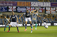 Millwall's Shaun Hutchinson and Blackburn Rovers' Sam Gallagher challenge for a cross<br /> <br /> Photographer Rob Newell/CameraSport<br /> <br /> The EFL Sky Bet Championship - Millwall v Blackburn Rovers - Tuesday July 14th 2020 - The Den - London<br /> <br /> World Copyright © 2020 CameraSport. All rights reserved. 43 Linden Ave. Countesthorpe. Leicester. England. LE8 5PG - Tel: +44 (0) 116 277 4147 - admin@camerasport.com - www.camerasport.com