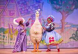 Mother Goose <br /> at the Hackney Empire, London, Great Britain <br /> press photocall<br /> 20th November 2014 <br /> <br /> <br /> <br /> Sharon D Clarke as Charity <br /> <br /> <br /> Alix Ross as Priscilla (the Goose) <br />  <br /> Clive Rowe as Mother Goose<br /> <br /> Photograph by Elliott Franks <br /> Image licensed to Elliott Franks Photography Services