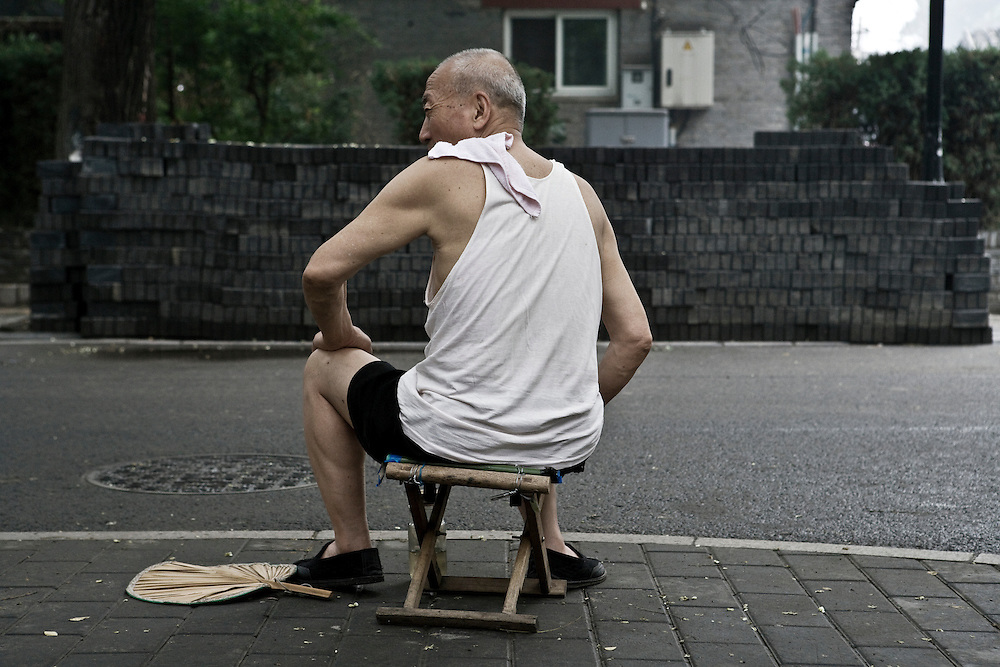 Portrait of a Chinese Senior Citizen seen from the back