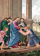 Christ giving sight to the man born blind.  'Bible' St John 9. Chromolithograph c1860