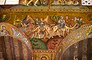 Medieval Byzantine style mosaics of the Bible story of Rebecca watering the vcamels, Palatine Chapel, Cappella Palatina, Palermo, Italy .<br /> <br /> If you prefer you can also buy from our ALAMY PHOTO LIBRARY  Collection visit : https://www.alamy.com/portfolio/paul-williams-funkystock/byzantine-art-antiquities.html . Type -    Palatine     - into the LOWER SEARCH WITHIN GALLERY box. Refine search by adding background colour, place, museum etc<br /> <br /> Visit our BYZANTINE MOSAIC PHOTO COLLECTION for more   photos  to download or buy as prints https://funkystock.photoshelter.com/gallery-collection/Roman-Byzantine-Art-Artefacts-Antiquities-Historic-Sites-Pictures-Images-of/C0000lW_87AclrOk