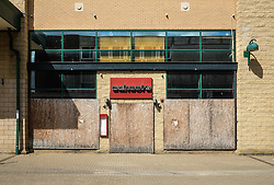 A closed and shuttered wine bar in Basildon Town Centre. Essex