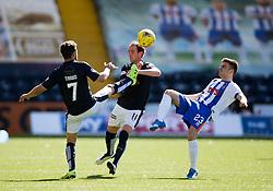 Falkirk's Tom Taiwo and Mark Kerr. Kilmarnock 4 v 0 Falkirk, second leg of the Scottish Premiership play-off final.