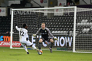 Nathan Dyer of Swansea city scores his teams 2nd goal. The Emirates FA Cup, 5th round replay match, Swansea city v Sheffield Wednesday at the Liberty Stadium in Swansea, South Wales on Tuesday 27th February 2018.<br /> pic by  Andrew Orchard, Andrew Orchard sports photography.