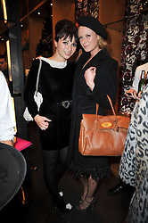 Left to right, GIZZI ERSKINE and OLIVIA INGE at a party to celebrate the launch of the new Mulberry leather case for Apple's iPhone held at the Mulberry store, Bond Street, London on 5th November 2009.