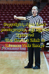 04 November 2015:  Referee Amanda Went officiates. Illinois State University Women's Basketball team hosted The Lions from Lindenwood for an exhibition game at Redbird Arena in Normal Illinois.