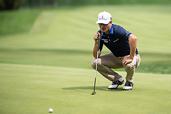 August 3, 2018 - Akron, OH, U.S. - AKRON, OH - AUGUST 03:  Zach Johnson (USA) lines up his putt on the 16th green during the second round of the WGC-Bridgestone Invitational on August 3, 2018 at the Firestone Country Club South Course in Akron, Ohio. (Photo by Shelley Lipton/Icon Sportswire) (Credit Image: © Shelley Lipton/Icon SMI via ZUMA Press)