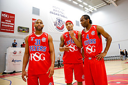 Cardell MacFarland, Greg Streete and Chris Bourne of Bristol Flyers look on after USA Select claim a narrow overtime victory - Mandatory byline: Rogan Thomson/JMP - 07966 386802 - 10/09/2015 - BASKETBALL - SGS Wise Arena - Bristol, England - Bristol Flyers v USA Select.