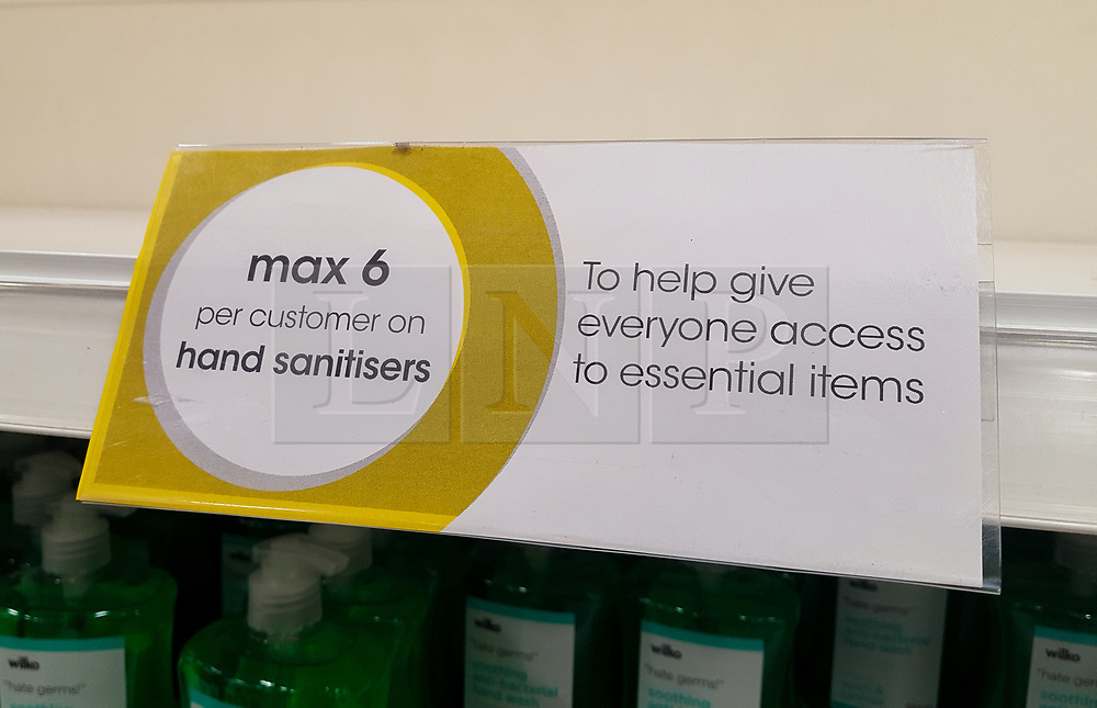 © Licensed to London News Pictures. 13/03/2020. London, UK. A sign 'max 6 per customer on hand sanitisers' on a shelf in a Wilko store in London as panic-buying in supermarkets continues amid an increased number of Coronavirus (COVID-19) cases in the UK. Major supermarkets have started to ration certain products after shoppers began to stockpile. 590 cases have been tested positive and ten patients have died from the virus in the UK.. Photo credit: Dinendra Haria/LNP
