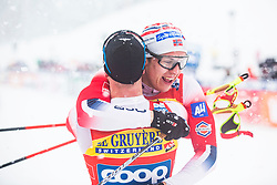 Sindre Bjoernestad Skar (NOR), Erik Valnes (NOR) celebrating the man team sprint race at FIS Cross Country World Cup Planica 2019, on December 22, 2019 at Planica, Slovenia. Photo By Peter Podobnik / Sportida
