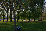 Seen from the rear, we see a man using his laptop under trees in a public park in south London. It is spring and the grass is very green in Ruskin Park in the London borough of Lambeth. People are using a BBQ in the distance, its smoke drifting across the landscape.