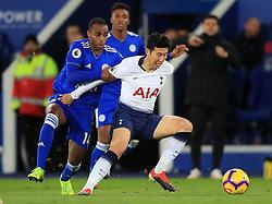 Tottenham Hotspur's Son Heung-min (right) and Leicester City's Ricardo Pereira battle for the ball