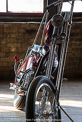 Justin Moon's (of the Haints Birmingham) custom 1948 Harley-Davidson Panhead  during setup day for the Mama Tried Bike Show. Milwaukee, WI, USA. Friday, February 17, 2017. Photography ©2017 Michael Lichter.