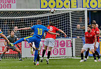 Football - 2021 / 2022 Emirates FA Cup - First Round Qualifying - Bootle vs. FC United of Manchester - Berry Street Garage Stadium - Saturday 4th September 2021<br /> <br /> Carl Peers of Bootle shoots past Michael Potts  of FC United to see his shot go narrrowly wide, at the Berry Street Garage Stadium.<br /> <br /> COLORSPORT/Alan Martin
