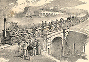 Opening of the Stockton and Darlington Railway, 27 September 1825. The civil engineer for the line was George Stephenson (1781-1848) From 'The Triumphs of Steam' by Henry Frith (London, c1898).