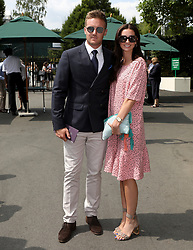 Cricketer Jason Roy and Eloise Roy arrive on day seven of the Wimbledon Championships at the All England Lawn Tennis and Croquet Club, Wimbledon.