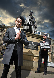 """!!!! FREE TO USE !!!! !!!! FREE TO USE !!!! !!!! FREE TO USE !!!! <br /> <br /> Pictured: Colin Cloud, the real life Sherlock Holmes, pays a visit to the Sherlock Holmes statue, Picardy Place, Edinburgh, Scotland.<br /> <br /> Colin Cloud: One hundred thousand pounds – and a dare.<br /> <br /> """"If your Majesty would condescend to state your case,"""" he remarked, """"I should be better able to advise you.""""<br /> <br /> The man sprang from his chair and paced up and down the room in uncontrollable agitation. Then, with a gesture of desperation, he tore the mask from his face and hurled it upon the ground.<br /> <br /> """"You are right,"""" he cried; """"I am the King. Why should I attempt to conceal it?""""<br /> <br /> - A Scandal in Bohemia, Arthur Conan Doyle. The Strand Magazine. July 1891<br /> <br /> This is how Sherlock Holmes surprises his masked visitor by identifying him as the disguised Wilhelm Gottsreich Sigismond von Ormstein, Grand Duke of Cassel-Felstein – the hereditary King of Bohemia – in Arthur Conan Doyle's A Scandal in Bohemia. <br /> <br /> After two novels, this was the first of 56 short stories featuring the great fictional detective, and features some of the best remembered elements of the legend of Sherlock Holmes: a noble client, disguises, clever tricks, a case that's not quite as it seems, and The Woman, Irene Adler, who bested Sherlock Holmes with clever tricks and disguises of her own.<br /> <br /> The game is afoot!<br /> <br /> Leap ahead 126 years to where 2017's real life Sherlock Holmes, Colin Cloud, brings a touch of Scandal to his new Edinburgh Festival Fringe show: Dare.<br /> <br /> Like A Scandal in Bohemia, the recurring theme of Dare is masks and disguises. <br /> <br /> Take the dare<br /> <br /> In Dare, Colin Cloud asks: how much of our lives on social networks are real? How much of our online lives is a disguise?<br /> <br /> Dare's audiences are given the chance to hide their identity – and then to speak out, to say whatever they feel o"""