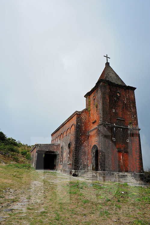 Ancient Catholic church in the Bokor national park, Kampot province, Cambodia, Asia