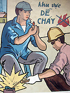 Worker safety sign in an abandoned brickyard in Vinh Long, Mekong Delta, Southern Vietnam, Southeast Asia