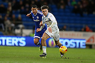 Jack Grealish of Aston Villa is challenged by Lee Peltier of Cardiff city. EFL Skybet championship match, Cardiff city v Aston Villa at the Cardiff City Stadium in Cardiff, South Wales on Monday 2nd January 2017.<br /> pic by Andrew Orchard, Andrew Orchard sports photography.