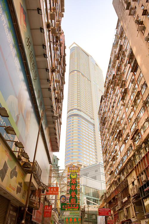 Tsim Sha Tsui, Kowloon, Hong Kong, China, Asia - November 12, 2008: Modern and old residential buildings in Carnarvon Road.