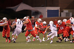 02 September 2017:   James Robinson takes the hand off behind the line from Jake Kolbe during the Butler Bulldogs at  Illinois State Redbirds Football game at Hancock Stadium in Normal IL (Photo by Alan Look)