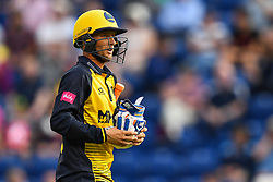 Billy Root of Glamorgan leaves the field after his dismissal<br /> <br /> Photographer Craig Thomas/Replay Images<br /> <br /> Vitality Blast T20 - Round 4 - Glamorgan v Middlesex - Friday 26th July 2019 - Sophia Gardens - Cardiff<br /> <br /> World Copyright © Replay Images . All rights reserved. info@replayimages.co.uk - http://replayimages.co.uk