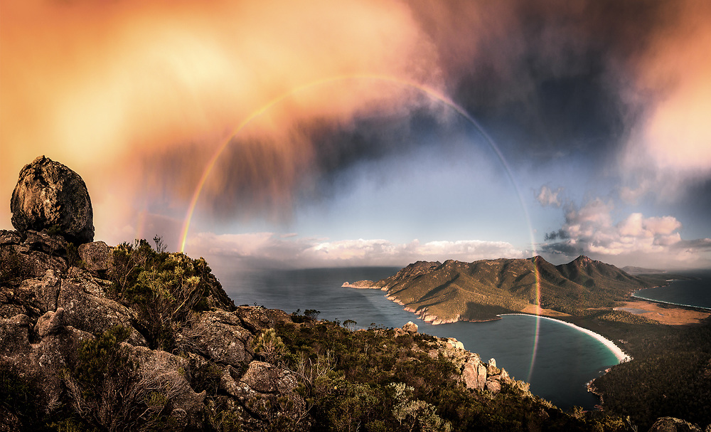 Such a nice surprise to have a small stormy cloud passing by right when I get to the top of mt Amos. Freycinet Peninsula, Tasmania