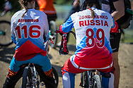 #116 (AFREMOVA Natalia) RUS and #89 (BONDARENKO Yaroslava) RUS during practice of Round 3 at the 2018 UCI BMX Superscross World Cup in Papendal, The Netherlands