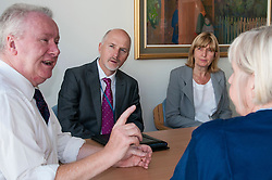 today Scottish Health Secretary Alex Neil,MSP, announced additional support for health boards. The support will be focused on improving the flow of patients through the NHS system. Mr Neil spoke to staff at NHS Lothian about their plans to invest the extra money and heard from patients about how they feel about being in hospital longer than necessary. Mr Neil discussed the additional support being made available with sister Christine McLaughlan, Peter Garitas and Mariana Green (both from Edinbugh City Council). Edinburgh, 7 August Ger Harley | SockPix.eu