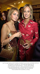 Left to right, sisters LADY ISABELLA HERVEY and LADY VICTORIA HERVEY, at a party in London on 13th February 2002.OXI 70