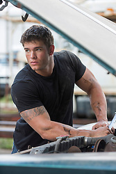 very good looking muscular auto mechanic with grease and dirt on his face working on a car