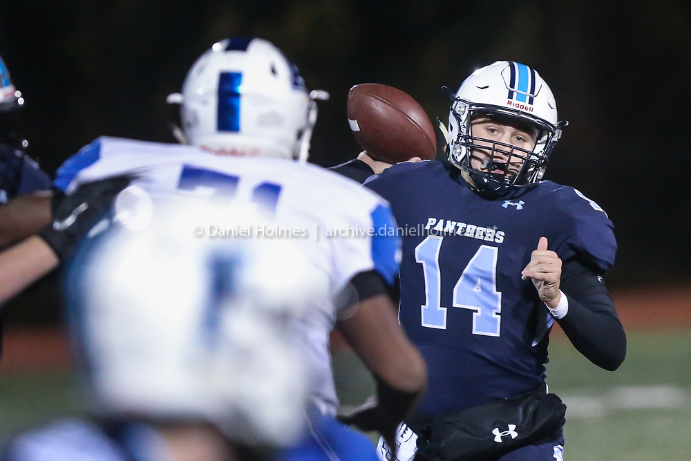 (11/1/19, FRANKLIN, MA) Franklin quarterback Thomas Gasbarro winds up for a pass during the quarterfinals of the Division 1 South playoffs against Attleboro at Franklin High School in Franklin on Friday. [Daily News and Wicked Local Photo/Dan Holmes]