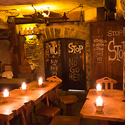 """Interior of the famous medieval """"Third dragon"""" pub and eatery in Tallin, Estonia"""