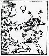 Zodiac sign of Taurus .  From 'Sphaera mundi', Strasburg, 1539