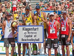 04.08.2013, Klagenfurt, Strandbad, AUT, A1 Beachvolleyball EM 2013, Finale Herren, Spiel 72, im Bild Janis Smedins 2 LAT, Alexandrs Smoilovs 1 LAT, Pablo HERRERA 1 ESP / Adrián GAVIRA Collado 2 ESP, Grzegorz FIJALEK 2 POL, Mariusz PRUDEL 1 POL <br /> // during Final match 72 of the A1 Beachvolleyball European Championship at the Strandbad Klagenfurt, Austria on 2013/08/04. EXPA Pictures © 2013, EXPA Pictures © 2013, PhotoCredit: EXPA/ Mag. Gert Steinthaler