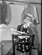 Maureen Potter. Comedian. 1957 - 07:02<br /> <br /> Image of Maureen Potter  in Gaiety theatre,  Dublin, Ireland.