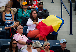 February 19, 2019 - Dubai, ARAB EMIRATES - Simona Halep Fans in action during her second-round match at the 2019 Dubai Duty Free Tennis Championships WTA Premier 5 tennis tournament (Credit Image: © AFP7 via ZUMA Wire)