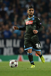 LONDON, ENGLAND - Oct 01: Napoli's forward Lorenzo Insigne from Italy during the UEFA Champions League match between Arsenal from England and Napoli from Italy played at The Emirates Stadium, on October 01, 2013 in London, England. (Photo by Mitchell Gunn/ESPA)