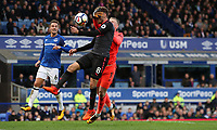 Football - 2017 / 2018 Premier League - Everton vs. Arsenal<br /> <br /> Aaron Ramsey of Arsenal and Jordan Pickford of Everton at Goodison Park.<br /> <br /> COLORSPORT/LYNNE CAMERON