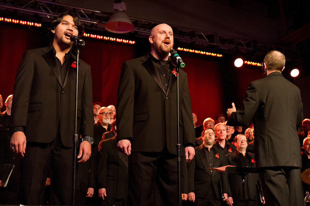 "Singers in the Twin Cities Gay Men's Chorus sing ""Wana Baraka"" during Minneapolis Mayor Betsy Hodges' inauguration party at the historic Thorp Building in Northeast Minneapolis, Saturday, January 11, 2014."