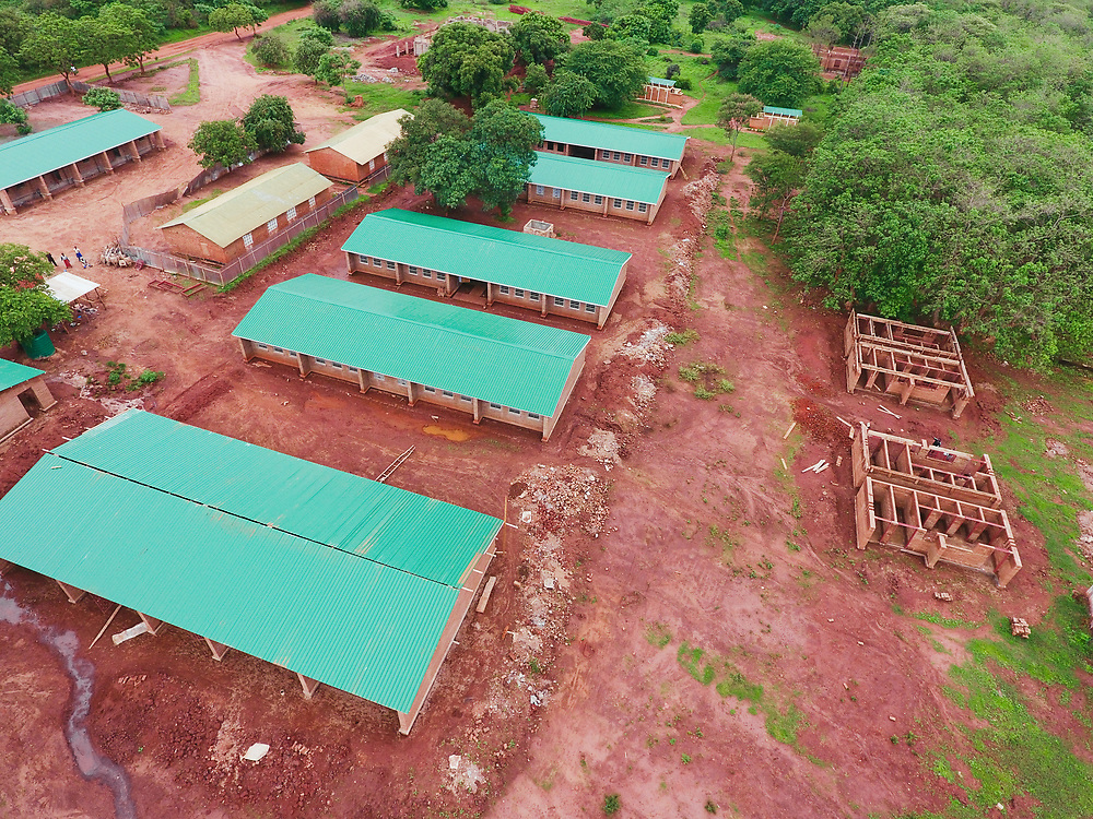 INDIVIDUAL(S) PHOTOGRAPHED: N/A. LOCATION: 14Trees building site, Malawi. CAPTION: Aerial photo of the 14Trees building site. This photo is taken from a different angle from the first, allowing us to see more buildings, along with some that are still under construction.