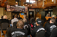 Laconia Police Chief Matt Canfield speaks to the crowd gathered at Gunstock's Main Lodge during the official kickoff of the 95th Laconia Motorcycle Week on Thursday morning.  (Karen Bobotas/for the Laconia Daily Sun)