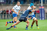Jamie Ritchie of Edinburgh Rugby tackles Zach Mercer of Bath Rugby during the Rugby Friendly match between Edinburgh Rugby and Bath Rugby at Meggetland Sports Complex, Edinburgh, Scotland on 17 August 2018.