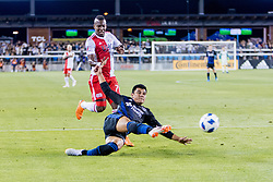 June 13, 2018 - San Jose, CA, U.S. - SAN JOSE, CA - JUNE 13: San Jose Earthquakes Defender Nick Lima (24)  crosses the ball during the MLS game between the New England Revolution and the San Jose Earthquakes on June 13, 2018, at Avaya Stadium in San Jose, CA. The game ended in a 2-2 tie. (Photo by Bob Kupbens/Icon Sportswire) (Credit Image: © Bob Kupbens/Icon SMI via ZUMA Press)