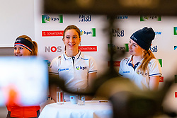 Yara van Kerkhof, Suzanne Schulting and Lara van Ruijven during the press conference for ISU World Cup Finals Shorttrack 2020 on February 12, 2020 in Museum Dordrecht.