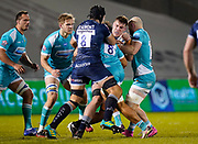 Sale Sharks lock Cobus Wiese collects runs at the Worcester Warriors defence during the Gallagher Premiership match Sale Sharks -V- Worcester Warriors at The AJ Bell Stadium, Greater Manchester,England United Kingdom, Friday, January 08, 2021. (Steve Flynn/Image of Sport)